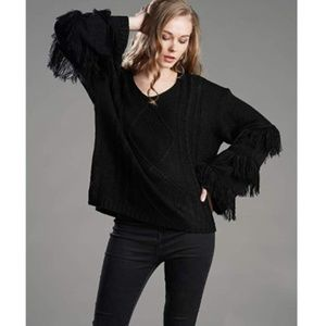 BEATRICE Fringe Sleeve Sweater